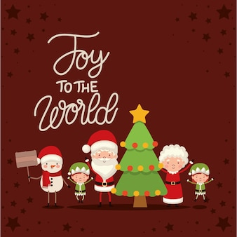 Set of christmas characters and joy the world lettering on red background.