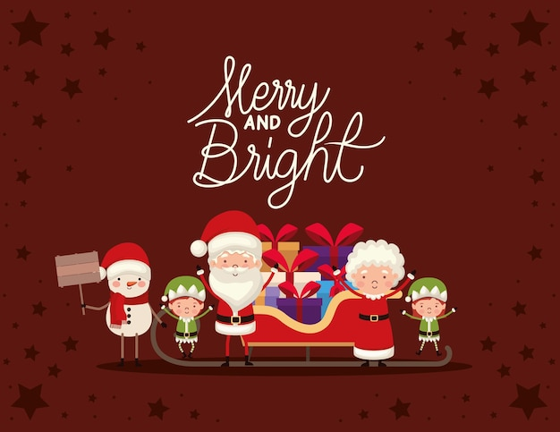 Set of christmas characters and merry and bright lettering on red background.