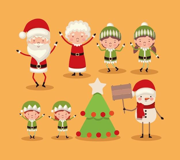 Set of christmas characters on orange background.