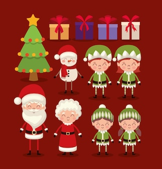 Set of christmas characters on red background.
