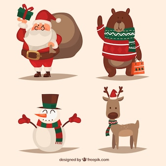 Set of christmas characters in retro style