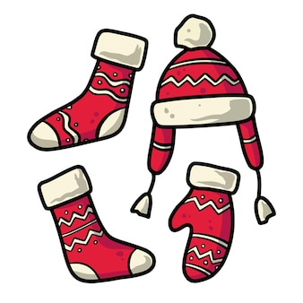 Set of christmas clothes for the new year holiday