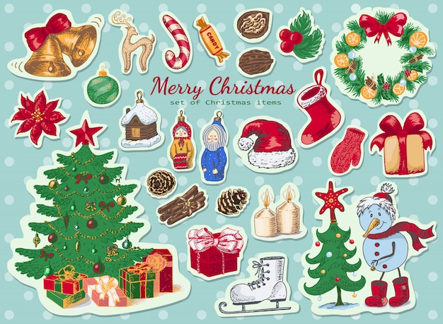 Set of christmas colored stickers
