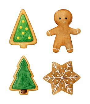 Set of christmas cookies painted in watercolor