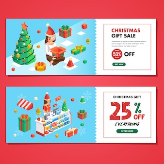 Set of christmas coupon sale for shop and store, christmas gift sale and discount coupon