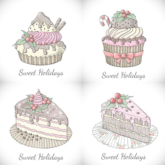 Set of christmas cupcakes and pies in sketch style.