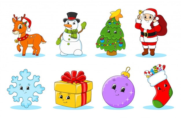 Set of christmas cute cartoon characters.
