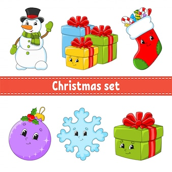 Set of christmas cute cartoon characters