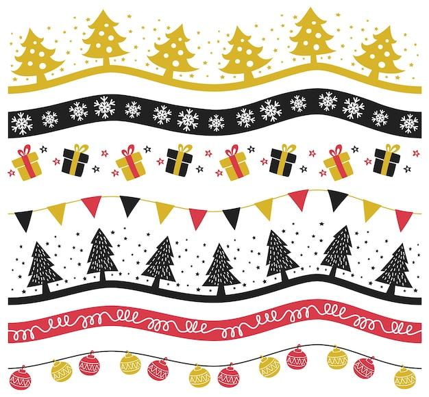 Set of christmas decoration vector illustration Premium Vector