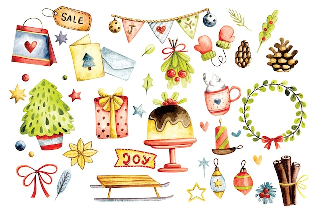 Set of christmas decoration in watercolor