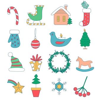 Набор елочных игрушек для дома карамельная трость сани домика деда мороза в снегу