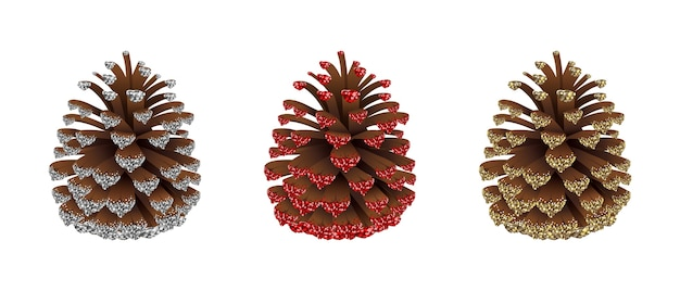 Set of christmas decorations isolated on white