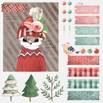 Set of christmas design elements in watercolor style.
