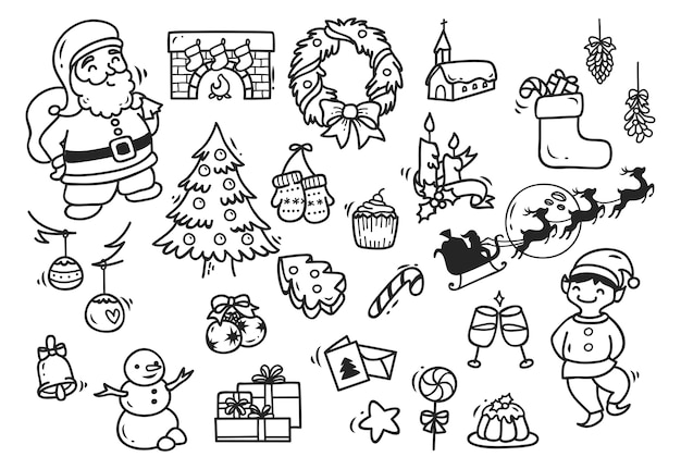 Set of christmas doodle element