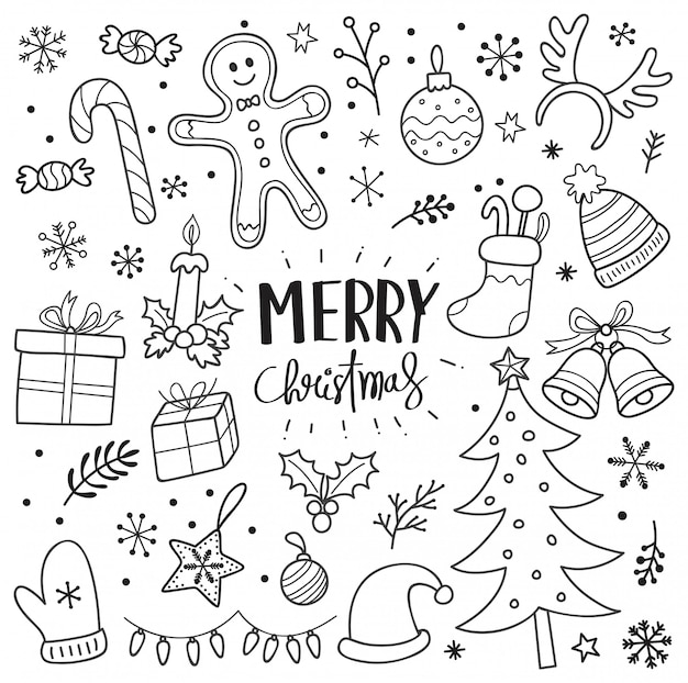 Set of christmas doodle seamless pattern