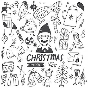 Set of christmas element in doodle style