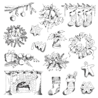 Set of christmas elements for design and scrapbook