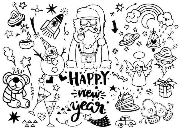 Set of christmas elements in doodle style
