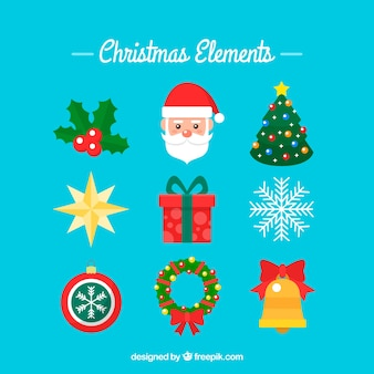 Set of christmas elements in flat design Free Vector