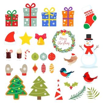 Set of christmas elements isolated on white background. vector flat cartoon illustration.