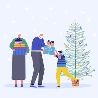 Set of christmas family. adult people give chritmas gift to th child. present under tree and snowflakes