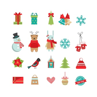 Set of christmas flat design objects .