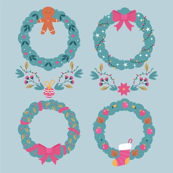 Set of christmas flowers and wreaths