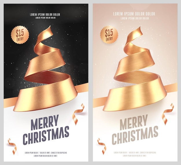 Set of christmas flyers with golden christmas tree made of ribbon