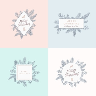 Set of christmas foliage cards, signs or logo templates.