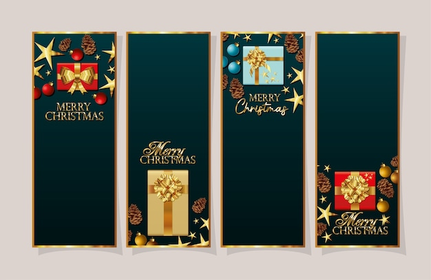 Set of christmas frames with gifts boxes  banner