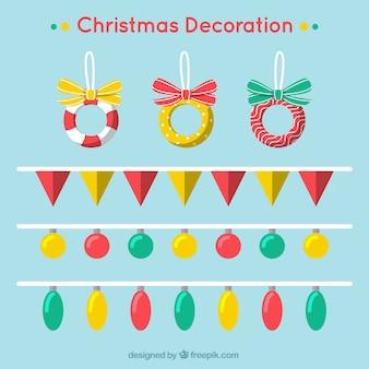 Set di ghirlande di natale e ornamenti in design piatto