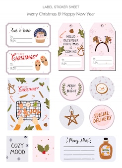 Set of christmas gift tag, label, stickers with traditional winter elements  in hygge style. cozy winter holiday season.
