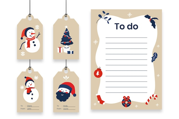Set of christmas gift tags and todo list