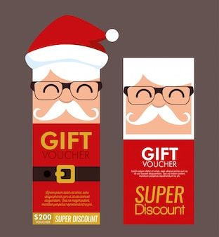 Set of christmas gift voucher card