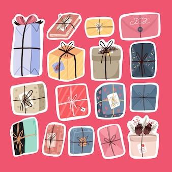 Set of christmas gifts sticker scandinavian style design
