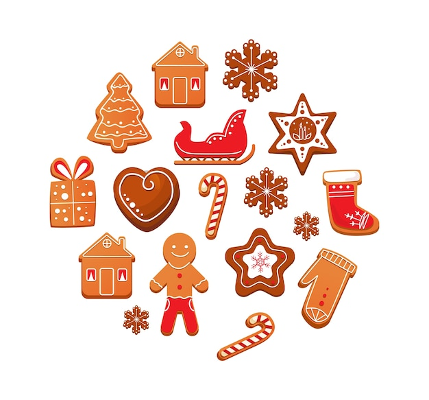 Set of christmas gingerbread cookies with chocolate icing.
