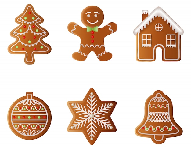 Set of christmas gingerbreads. gingerbread tree, gingerbread man, gingerbread house, gingerbread ball, gingerbread snowflake and gingerbread bell