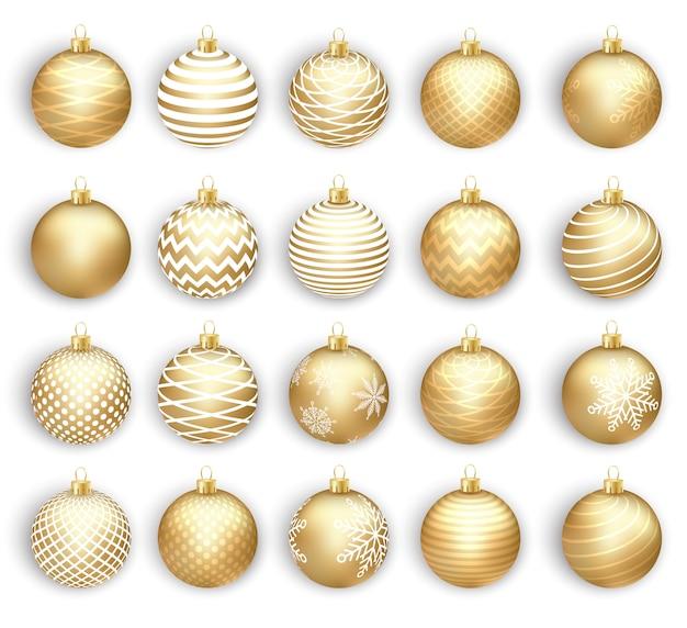 Set of christmas gold balls, isolated on white background