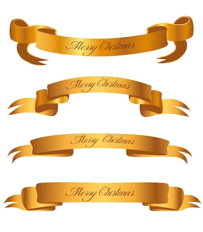 Set of christmas gold ribbon isolated on white