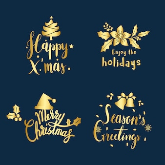 Set of christmas greeting badge vectors
