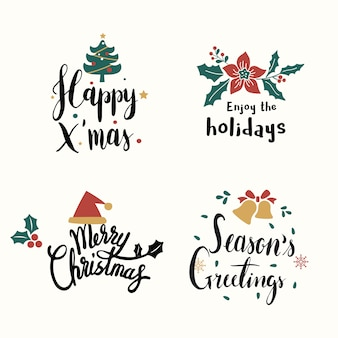 Set of christmas greeting badge