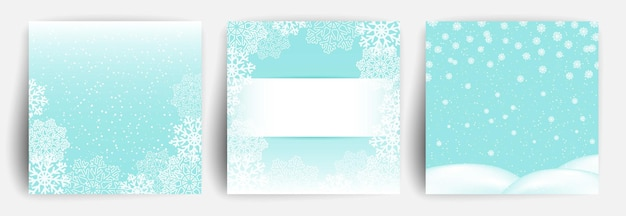 Set of christmas greeting card design template.