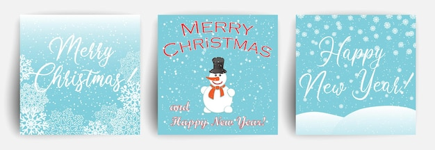 Set of christmas greeting card with snowman. design template for flyer, banner, invitation, congratulation.