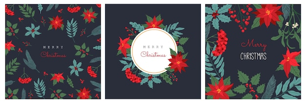 Set of christmas greeting card