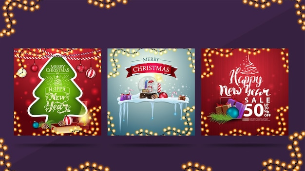 Set of christmas greeting cards and discount banner for new year celebrations.