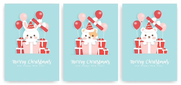 Set of christmas greeting cards with cute bear, rabbit and cat.