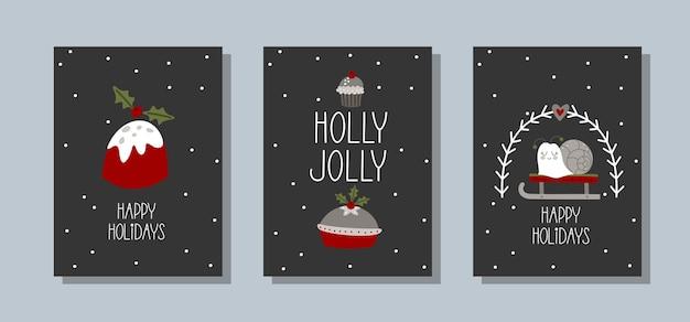 Установите рождественские открытки с милыми зимними элементами и надписью handdrawn