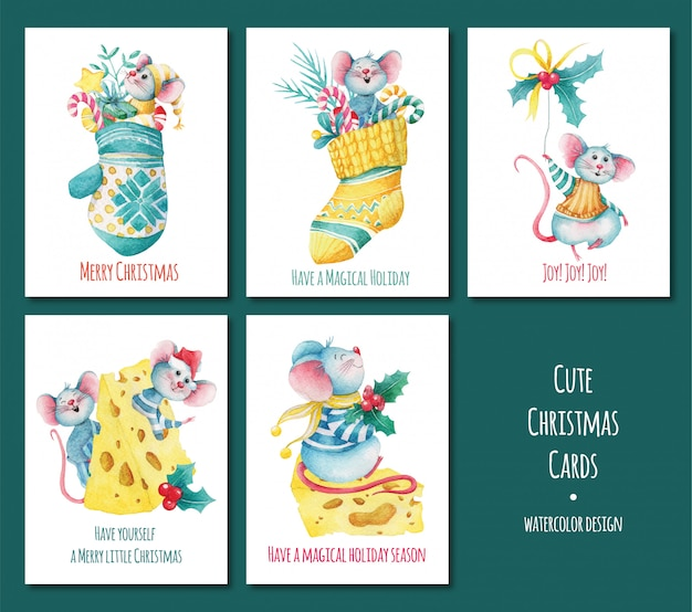Set of christmas greeting cards with mice