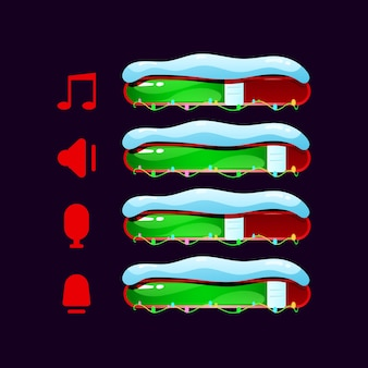 Set of christmas gui volume, music, mic icon with bar for game ui asset elements
