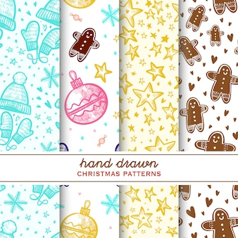 Set of christmas hand drawn patterns. with stars, ginger cookie, gift box, christmas toy,